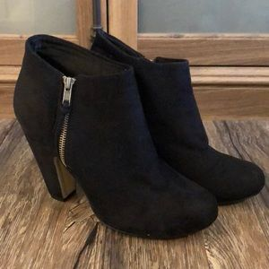 Madden Girl Black Zip-Up Booties
